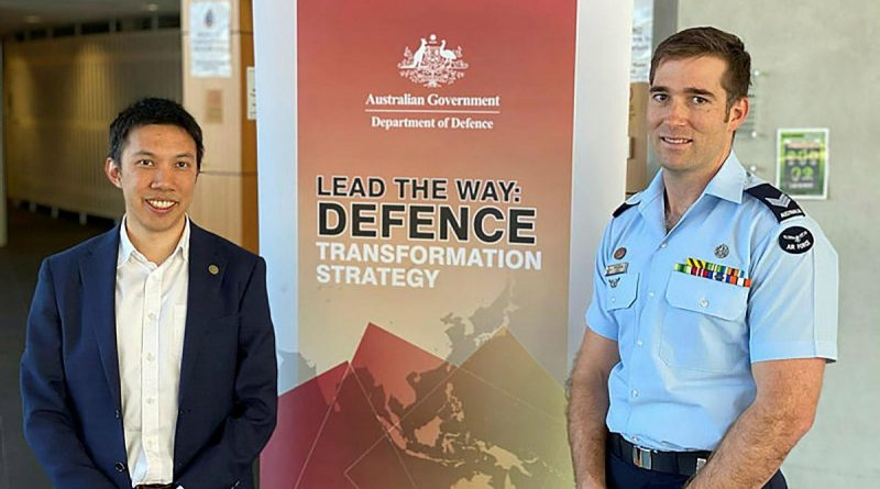 Hing Wah Kwok and Sergeant William Gill presenting to the Defence Senior Leadership Group.