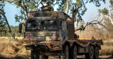 Soldiers of 7 Combat Service Support Battalion, drive a HX77 Truck as an escort during Exercise Diamond Walk at Shoalwater Bay, Queensland. Story by Captain Jesse Robilliard. Photo by Private Jacob Hilton.