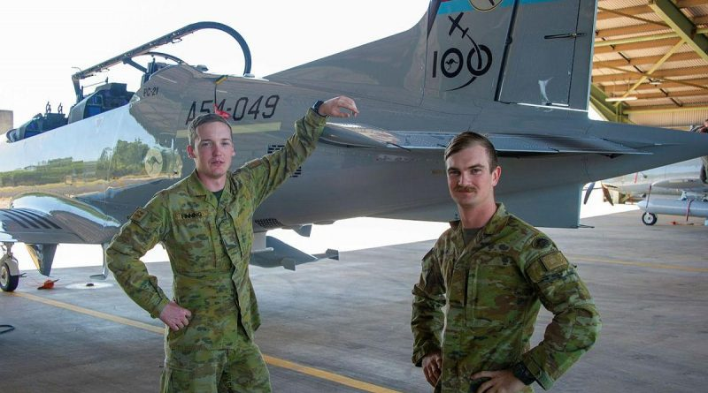 Gunners Liam Finner, left, and Jesse-Jon Thamm, of the 8th/12th Regiment, RAA, stand next to a Pilatus PC-21 from No. 4 Squadron during Exercise Thor's Run. Story by Major Ben Green. Photo by Captain Carla Armenti.