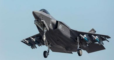 An F-35A Lightning II takes off with its payload of GBU-12 bombs from RAAF Base Darwin during Exercise Arnhem Thunder 21. Story by Flight Lieutenant Robert Cochran. Photo by Leading Aircraftman Stewart Gould.