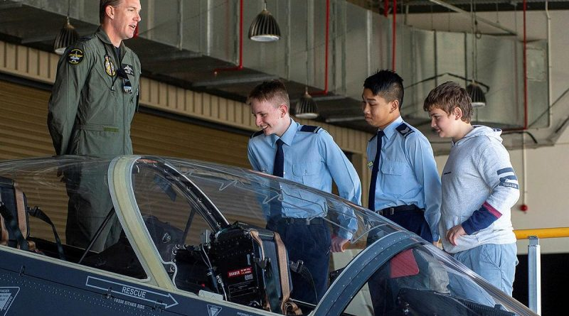 Australian Air Force Cadets met with serving Air Force personnel during a visit to RAAF Base Pearce. Story by Peta Magorian. Photo by Sergeant Gary Dixon.