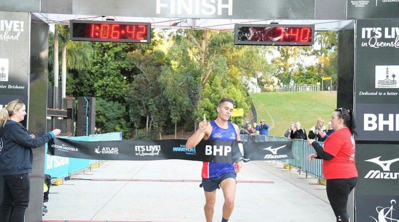 Sergeant Kieren Perkins winning his age category in the Brisbane Half Marathon. Story by Flying Officer Evita Ryan.