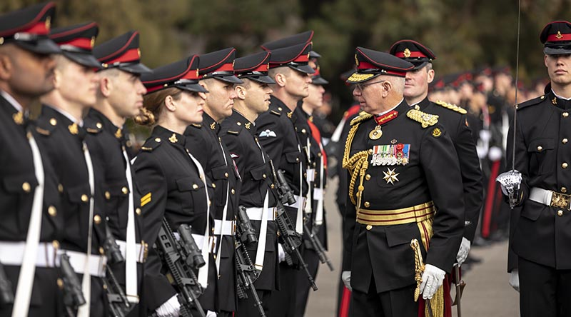 Governor-General General (Retd) David Hurley inspectsthe Corps of Staff Cadets during the Trooping of the Queen's Colour parade at the Royal Military College - Duntroon, Canberra. Photo by Lauren Larking.