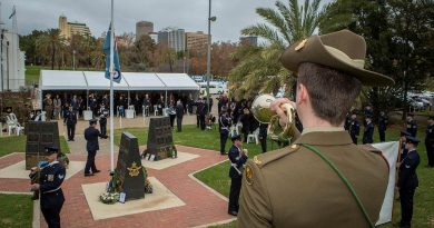 Musician Will Madden plays the Last post at the 79th Anniversary Commemoration Ceremony of Bomber Command held at the Air Force Memorial, Torrens Parade Ground in Adelaide. Story by Flight Lieutenant Jessica Aldred. Photo by Sergeant Murray Staff.