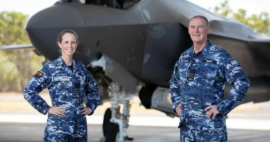 Senior Australian Defence Force Officer of RAAF Base Tindal Wing Commander Shane Smith, right, with Air Base Executive Officer, Squadron Leader Lauren Guest and the F-35A Lightning II at Tindal. Story by Flight Lieutenant Robert Cochran. Photo by Leading Aircraftman Stewart Gould.