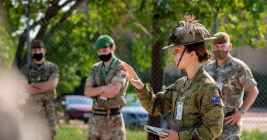 Captain Charlotte Hargreaves, of the 7th Combat Brigade, gives orders to members from the Australian Army, US Army and Canadian Armed Forces during the Joint Warfighting Assessment 2021 at Fort Carson, Colorado. Story by Captain Taylor Lynch. Photo: Corporal Nicole Dorrett.
