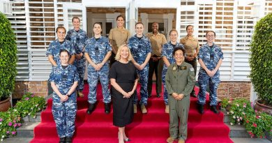 Administrator of the Northern Territory Vicki O'Halloran, front, centre, with Exercise Arnhem Thunder 21 participants and members of Marine Rotational Force – Darwin at Government House in Darwin. Story by Flight Lieutenant Robert Cochran. Photo by Leading Aircraftman Stewart Gould.