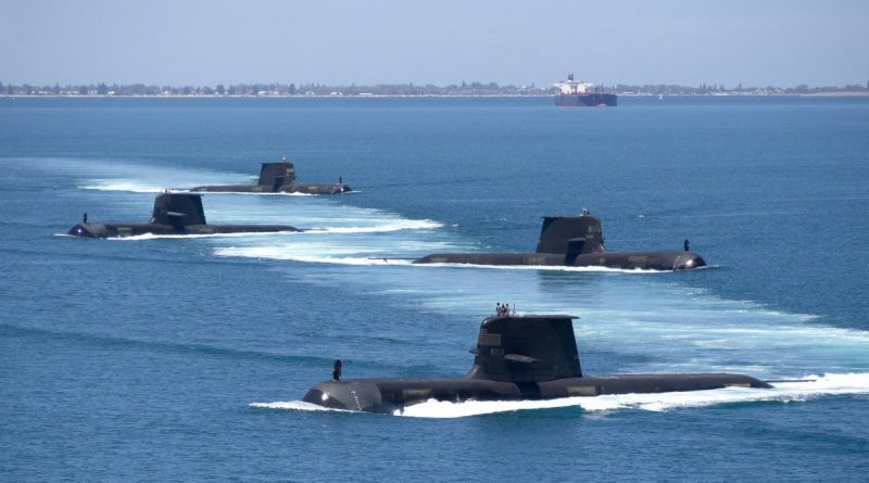 Collins-class submarines HMA Ships Collins, Farncomb, Dechaineux and Sheean in formation while transiting through Cockburn Sound, Western Australia. Story by Warrant Officer Class Two Max Bree. Photo by Lieutenant Chris Prescott.