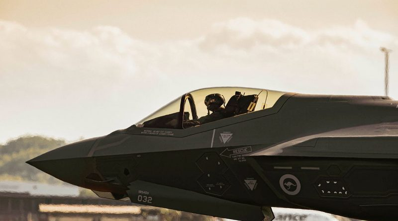 F-35A Lightning II aircraft, A35-032, prepares for take off from RAAF Base Darwin, during Exercise Rogue Ambush 21-1. Story by Flying Officer Bronwyn Marchant. Photo by Leading Aircraftman Adam Abela.