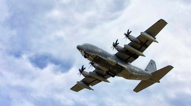 A United States Air Force 353rd Special Operations Group MC-130J Commando II passes over RAAF Base Richmond during Exercise Teak Action. Story by Eamon Hamilton. Photo by Corporal David Said.