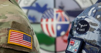 Australian and the United States members at the Exercise Talisman Sabre 2021 opening ceremony, held at RAAF Base Amberley, Queensland. Story by Flight Lieutenant Clarice Hurren. Photo by Sergeant Peter Borys.