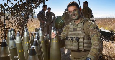 Australian Army Gunner Jesse Lane from the 4th Regt, RAA, with the 155mm M777 Howitzer ammunition at Shoalwater Bay Training Area, QLD, during TS21. Photo by Corporal Jarrod McAneney.