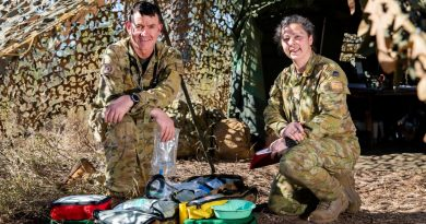 Army veterinarian officer Major Kendall Crocker and veterinary assistant Private Lianne Salerno, at the Townsville Field Training Area in during TS21. Story by Flight Lieutenant Chloe Stevenson. Photo by Leading Aircraftwoman Emma Schwenke.