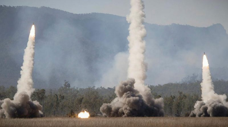Rockets are launched from US Army and US Marine Corps High Mobility Rocket Artillery Systems during a firepower demonstration at Shoalwater Bay Training Area. Story by Warrant Officer Class 2 Max Bree. Photo by Corporal Madhur Chitnis.