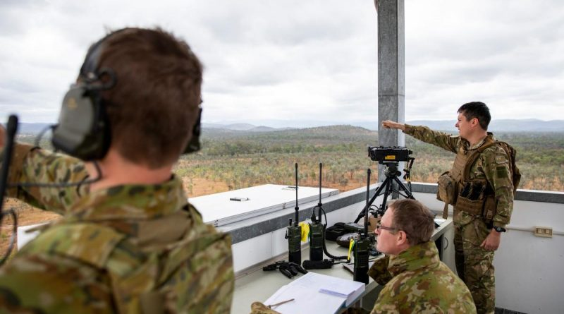 Australian Army Joint Terminal Attack Controllers and New Zealand Army personnel confirm target coordinates while conducting training serials at the Townsville Field Training Area in QLD, during Exercise Talisman Sabre 2021. Story by Flight Lieutenant Chloe Stevenson. Photo by Leading Aircraftwomen Emma Schwenke.