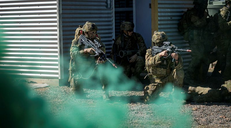 Australian Army soldiers from Battlegroup Eagle conduct a clearance of an enemy camp, at Townsville Field Training Area, Queensland, during Exercise Talisman Sabre 2021. Story by Captain Diana Jennings. Photo by Corporal Brandon Grey.
