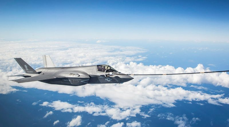 A United States Marine Corps F-35B Lightning II aircraft connects to the KC-30A Multi-Role Tanker Transport aircraft refuelling hoseduring Exercise Talisman Sabre 2021. Story by Eamon Hamilton. Photo by Sergeant Ben Dempster.