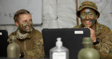 Australian Army soldier Corporal Rhian Mears (right) from Headquarters 3rd Brigade is deployed as a command support clerk to Townsville field training area, Queensland, during Exercise Talisman Sabre 2021. Story by Captain Diana Jennings. Photo by Corporal Brandon Grey.
