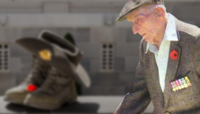 Bocker on Remembrance Day 2019 –superimposed over a slouch hat and boots. Background photo by Corporal Nunu Campos –Bocker's photo supplied by Tomas Hamilton –digital composition by CONTACT.