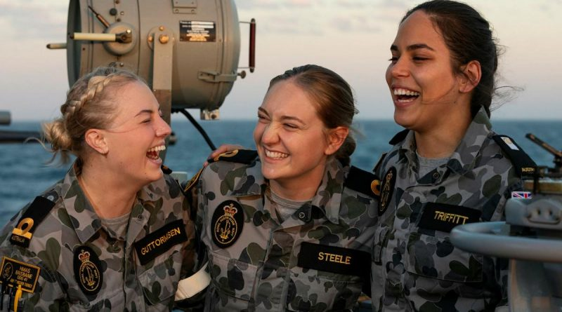 Sub Lieutenants Taylah Guttormsen, left, and Amy Steele and Midshipman Laura Triffitt are completing Phase 2 of their maritime warfare officer course aboard HMAS Brisbane during Exercise Talisman Sabre. Story by Lieutenant Sarah Rohweder. Photo by Leading Seaman Daniel Goodman.