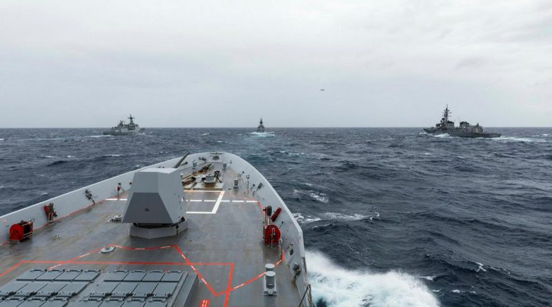HMAS Brisbane conducts officer-of-the-watch manoeuvres with JS Makinami, ROKS Wang Geon and HMAS Parramatta during Exercise Talisman Sabre 2021. Story by Lieutenant Sarah Rohweder. Photo by Leading Seaman Daniel Goodman.