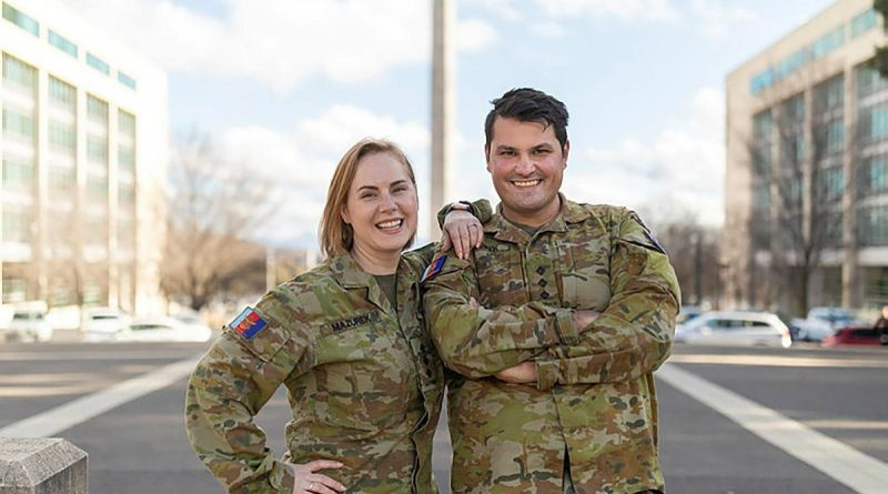Australian Army public affairs officers, and married couple, Captains Karyn and Dan Mazurek in Canberra. Story by Captain Annie Richardson. Photo by Jay Cronan.