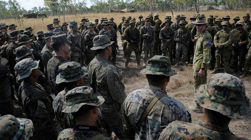 Chief of the Australian Defence Force General Angus Campbell addresses US Marines and Australian Army gunners of 8/12 Regiment, Royal Australian Artillery, at a bilateral gun battery. Story by Private Jacob Joseph.