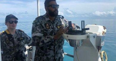 Leading Seaman Benyam Gormiesa conducts ship-handling exercises under the watch of Lieutenant Mollie Burns in ADV Cape Inscription. Story by Lieutenant Commander Jessica O'Brien.
