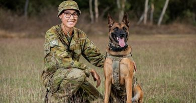 Private Beata Wawrzynowicz and Military Police Dog Azura, of the 1st Military Police Battalion, at Lavarack Barracks, Townsville, for Exercise Talisman Sabre. Story by Flight Lieutenant Chloe Stevenson. Photo by Leading Aircraftwoman Emma Schwenke.