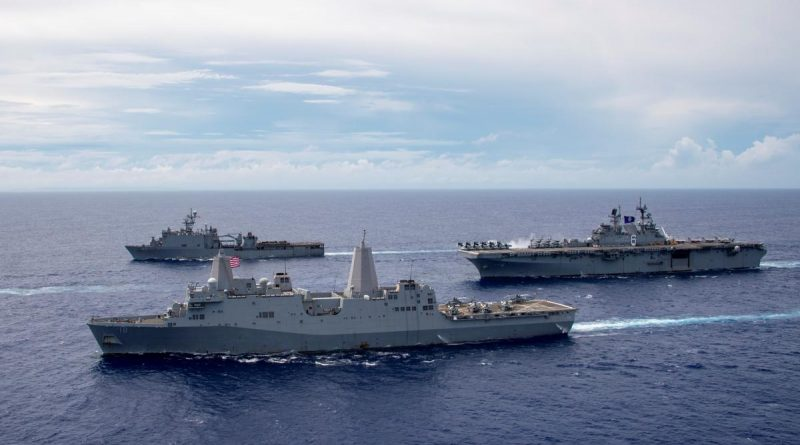 USS America, USS New Orleans and USS Germantown sail in formation in the Indo-Pacific region, heading to Talisman Sabre. Story by Lieutenant Commander Sherrie Flippin. Photo by Mass Communication Specialist 3rd Class Jomark Almazan.