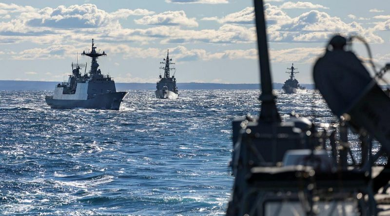 HMAS Brisbane conducts maritime manoeuvres with ships from Japan, South Korea and the US during Exercise Pacific Vanguard. Story by Lieutenant Sarah Rohweder. Photo by Leading Seaman Daniel Goodman.