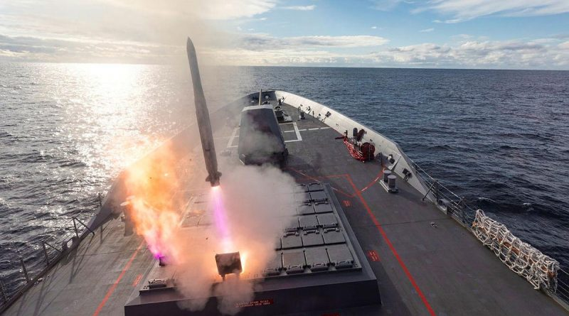 HMAS Brisbane launches its Evolved Sea Sparrow Missile during Exercise Pacific Vanguard. Story by Lieutenant Geoff Long. Photo by Leading Seaman Daniel Goodman.