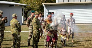 Bindal Elder Uncle Alfred Smallwood welcomes Exercise Talisman Sabre participants to country with a traditional smoking ceremony at Lavarack Barracks, Townsville. Story by Lieutenant Jonathan Carkhuff. Photo by Lauren Larking.