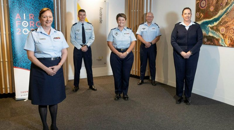 The Air Force team helping keep international freight moving Air Vice Marshal Margaret Staib, left, Squadron Leader Chris Ford, Warrant Officer Jodi Peck, Squadron Leader Andrew Lightfoot and Group Captain Louise Burstow. Story by Lieutenant Anthony Martin. Photo by Sergeant Kirk Peacock.