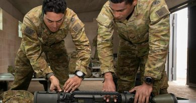 Corporal Steve Tonga, left, and Corporal Paul Tuinanunu, from the 3rd Battalion, Royal Australian Regiment, inspect the Carl Gustaf 84mm Mk4 recoilless rifle after a qualification shoot at the School of Infantry, Singleton. Story and photo by Private Jacob Joseph.