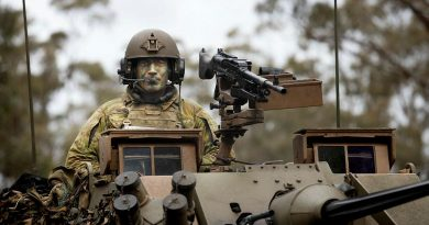 Lieutenant Jake Mouritz on Exercise Gauntlet Strike at Puckapunyal Military Training Area, Victoria. Story by Captain Tom Maclean. Photo by Corporal Robert Whitmore.