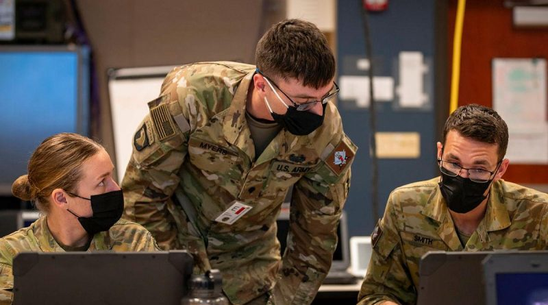 Australian Army Captain Sam Smith, Specialist Tyler Myers, of the US Army, and Private Brook Restall, from 7 Brigade, while deployed on the Joint Warfighting Assessment at Fort Carson, Colorado. Story by Captain Taylor Lynch. Photo by Corporal Nicole Dorrett.