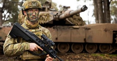 Lieutenant Levi Ross on Exercise Gauntlet Strike at Puckapunyal Military Training Area, Victoria. Story by Captain Tom Maclean. Photo by Corporal Robert Whitmore.