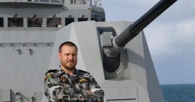 Weapons Electrical Engineering Officer Lieutenant Nick Adriaanse stands on the forecastle of HMAS Brisbane while sailing off the east coast of Queensland. Story by Lieutenant Sarah Rohweder.