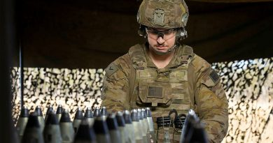Lance Bombardier Marc Millet, of the 4th Regiment, Royal Australian Artillery, prepares the M777 Howitzer ammunition during Exercise Talisman Sabre. Story by Warrant Officer Class 2 Max Bree. Photo by Corporal Jarrod McAneney.