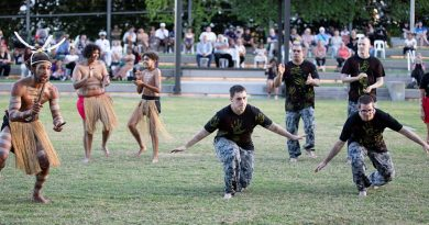 Navy Indigenous Development Program graduates perform a cultural dance with the Buri Guman Aboriginal Dance Group during their graduation in Cairns. Story by Sub Lieutenant Nancy Cotton. Photo by Petty Officer Bradley Darvill.