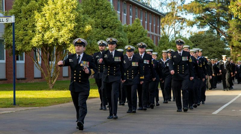 Members of the Defence Force School of Signals - Maritime Wing march through the streets of HMAS Cerberus during celebrations to mark 100 years of communications training. Story by Leading Seaman Peta Binns. Photo by Petty Officer James Whittle.