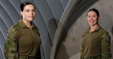 Aircraftwomen Alese Clark, left, and Maeghan Lewis inside the base command post bunker at RAAF Base Scherger. Story by Flight Lieutenants Nick O'Connor and Tamara . Photo by Corporal Brett Sherriff.