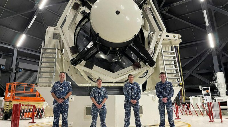Air surveillance operators from No. 1 Remote Sensor Unit Flight Sergeant Peter Merritt, left, Sergeant Emma Barker, Leading Aircraftwoman Amy Clements and Leading Aircraftman Corey Tuddenham at the Air Force's space surveillance telescope in WA. Story by Flight Lieutenant Joseph Noble and Squadron Leader Barrie Bardoe.