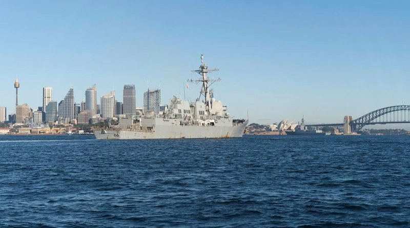 United States Navy destroyer USS Rafael Peralta enters Sydney Harbour for a COVID-Safe port visit ahead of Exercise Pacific Vanguard. Photo by Able Seaman Dafonte Fernandez.