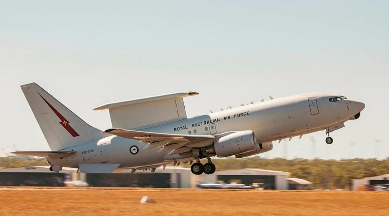 E-7A Wedgetail aircraft A30-006, from No. 2 Squadron, takes off from RAAF Base Darwin during Exercise Rogue Ambush. Story by Flying Officer Bronwyn Marchant. Photo by Leading Aircraftman Adam Abela.