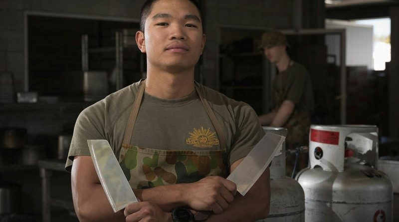 Private Zaniel Noriel, of the 10th Force Support Battalion, at the Camp Growl kitchen during Exercise Talisman Sabre. Story by Lieutenant Max Logan. Photo by Corporal Madhur Chitnis.