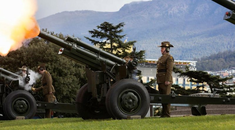 An M2A2 105 mm Howitzer crewed by Army soldiers from the 9th Regiment, Royal Australian Artillery, fires an 18-gun salute during the 150th Anniversary of Australian Artillery Commemorative Service at the Hobart Cenotaph. Story by John Cox. Photo by Private Hamish Rogers.