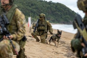 Private Alex Penfold and Military Police Dog Bodie at Cowley Beach Queensland. Photo by Leading Aircraftwomen Jacqueline Forrester.