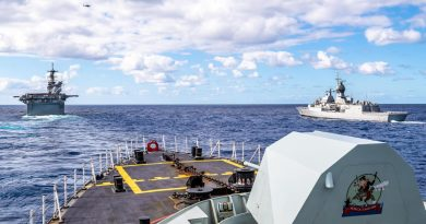 Canadian frigate HMCS Calgary (foreground), in company with USS America (left) and Australian frigate HMAS Parramatta (right) off the coast of QLD, during Exercise Talisman Sabre 21. Story by Lieutenant Sarah Rohweder. Photo by Corporal Lynette Ai Dang.